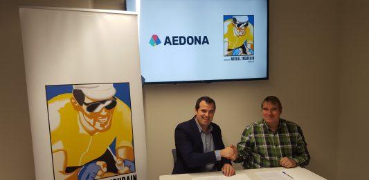 Firma Convenio Patrocinio Fundacion Miguel Indurain Fundazioa y AEDONA